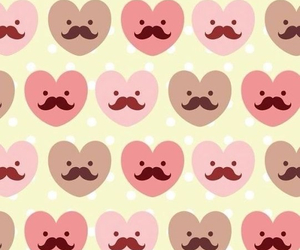wallpaper, mustache, and heart image