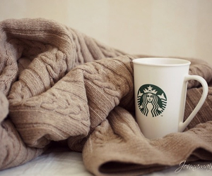 starbucks, sweater, and coffee image