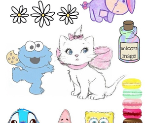 cookie monster, daisies, and macaroons image