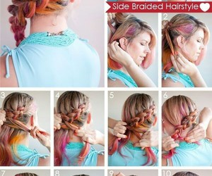 braid, girl, and colors image