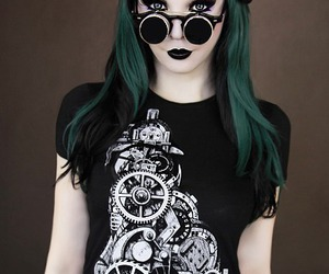goth, green hair, and steampunk image