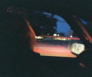 car, girl, and dark image