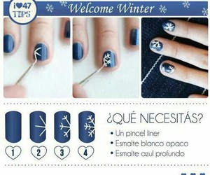 nail tutorial, snowflake nails, and winter nails image
