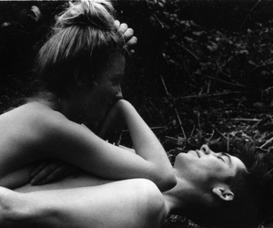 b&w, black and white, and hug image