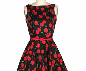 50s style, printed dress, and boat neckline dress image