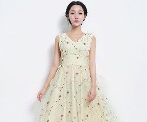 floral dress, rockabilly style, and long dress image