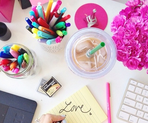 desk, love, and pink image