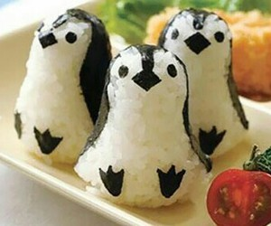 food, penguin, and sushi image