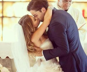 wedding, couple, and kiss image