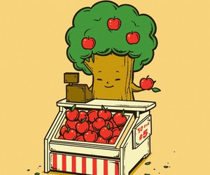 apple, tree, and funny image