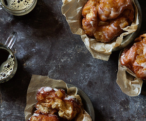 food, fritter, and apple image