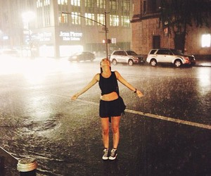 rain, girl, and city image