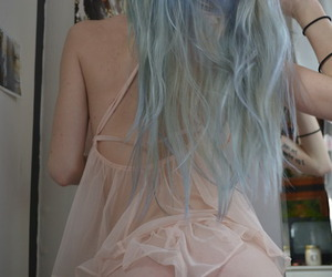 girl, pale, and blue hair image