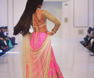 fashion, pink, and saree image
