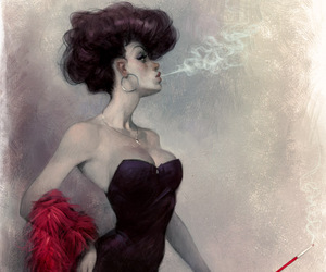 woman and smoke image