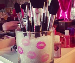 makeup, Brushes, and kiss image