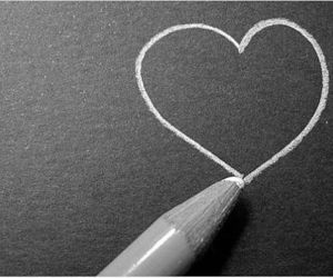 love, heart, and pencil image