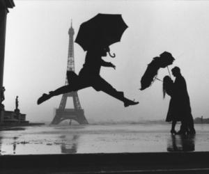 paris, rain, and black and white image