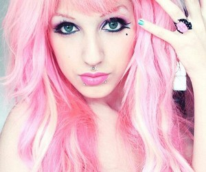 piercing, pink hair, and lindsay woods image