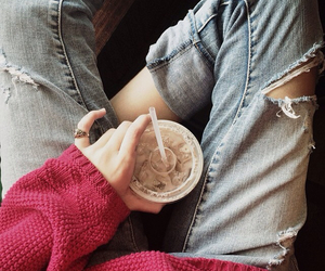 sweater, clothes, and drink image