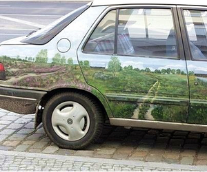 car, green, and pale image