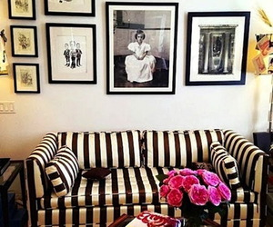 couch, stripes, and black and white image