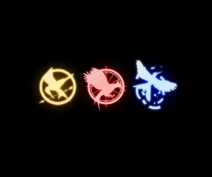 hunger games, catching fire, and mockingjay image