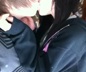couple, emo, and kiss image