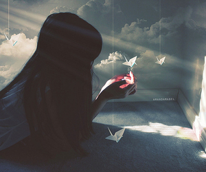 girl, clouds, and origami image