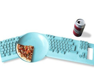 pizza, keyboard, and blue image