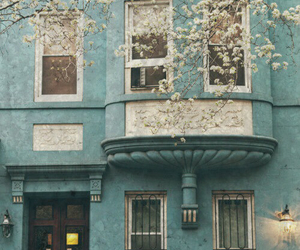 blue, house, and flowers image