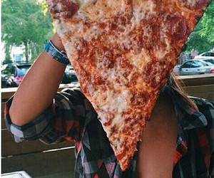food, pizza, and girl image