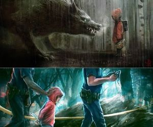 wolf, little red riding hood, and police image
