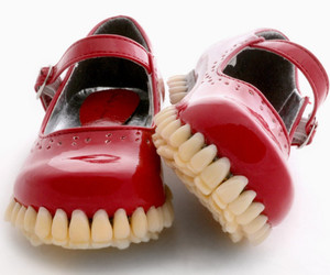 shoes, teeth, and strange image
