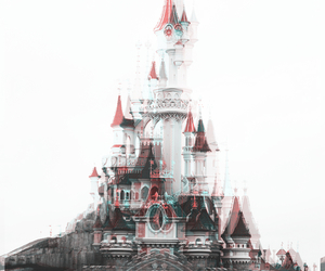 disney, castle, and black and white image