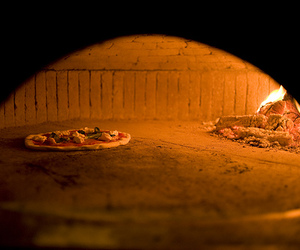 fire, food, and pizza image