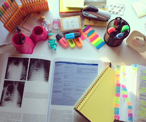 study, desk, and medicine image