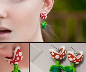 earrings, mario, and plant image