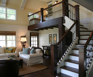 brown and white, living room, and stairs image