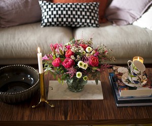 books, room, and flowers image