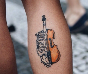 music, tattoo, and violin image