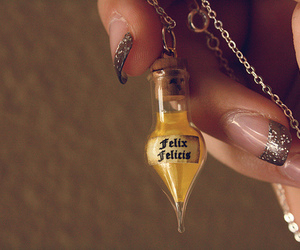 harry potter, felix felicis, and potion image