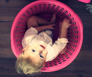 basket, blonde, and child image