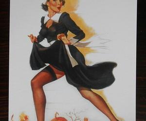 vintage sexy pin-up, cartoon hot 1950s, and halloween girl pumpkin image