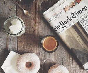 coffee, donuts, and newspaper image
