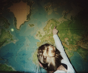 girl, map, and world image