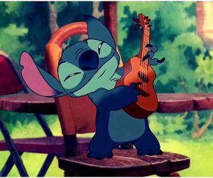 stitch, disney, and guitar image