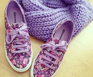 shoes, purple, and flowers image