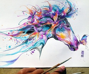 art, drawing, and horse image