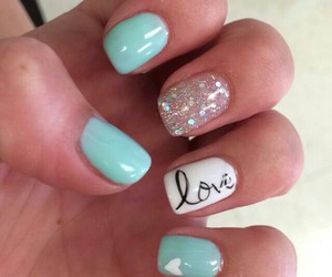 cool, light blue, and nails image